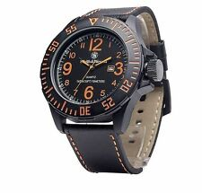 Smith & Wesson SWW-LW6058 EGO Series Men's Watch with Leather Strap, Black 52mm