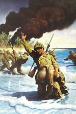 Vintage Art NC Wyeth Marines Landing Beach We're On Our Way Uncle Sam US Soldier