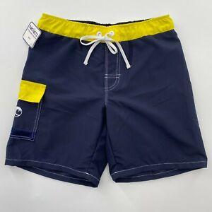 NoNetz Boy's Wave Swim Shorts Trunk Navy/Yellow UPF 50+ Anti-Chafe Liner Size L