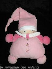 Doudou Hochet Grelot rose Lutin Poupée Fille avec bonnet fleurs Nounours