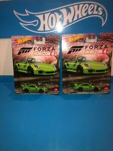 LOT OF (2) PORSCHE 911 GT3 RS HOT WHEELS,2021RETRO ENTERTAINMENT,FORZA HORIZON 4