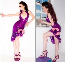 Vex Latex Sheer Purple/Pink Floral Ruffle Dress Pinup Burlesque Fetish Halloween