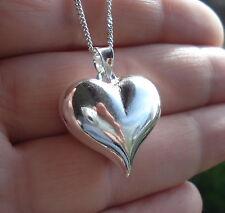 925 Sterling Silver Plain Puffed Heart Pendant  23mm x 23mm  Charm Jewellery