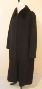 Precis Petite Black Full Length WInter Coat Wool Detachable Faux Fur Trim Size14