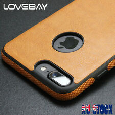 For iPhone 5 6 7 Plus SE Shockproof Hybrid Thin Leather TPU Soft Back Case Cover