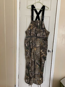 Cabelas Realtree Large Camo Camouflage Bib Overalls Green Brown Hunting Hiking