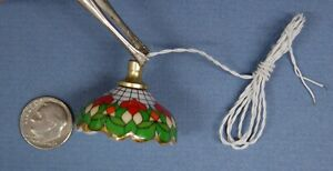 """Reuter Porcelain """"Stained Glass Style"""" Hanging Lamp, Elec., 1:12 Scale, 1 1/4"""" D"""