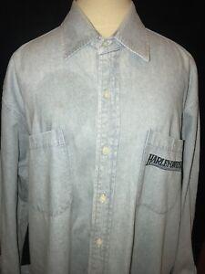 Harley-Davidson Button Up Denim Shirt Men-Sz.L-Cotton-Lt. Blue-L Sleeves
