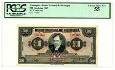 Nicaragua ... P-98 ... 500 Cordobas ... 1945 ... CH *AU-UNC* ... PCGS 55 AU-UNC.