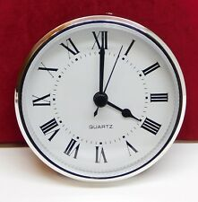 "Complete Clock Insert Fit Up Movement 3 1/2"" Diameter White Roman Silver SWR3.5"