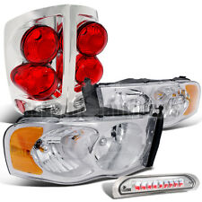2002-2005 Dodge Ram Chrome Headlights+Clear Tail Lights+LED 3rd Brake Lamps