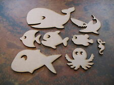 8x MDF Wooden assorted Fish Shapes. Craft, Embelishment