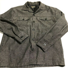 Vtg Pop Icon Mens Large Gray Button Long Sleeve Shirt Lined USA Polyester