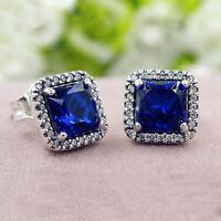 Authentic 100% 925 Sterling Silver Timeless Elegance True Blue Stud Earrings