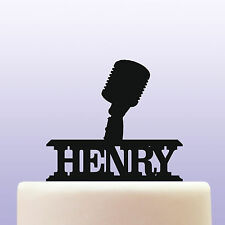Acrylic Retro Vintage Microphone Cake Topper Decoration