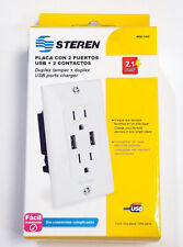 Steren 15 Amp Outlet Receptacle White Wall Plate with Dual USB Charger Port NEW!