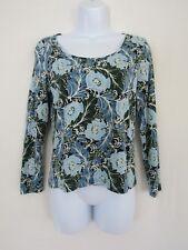 Talbots Petites Womens Cotton Blend Blue Floral Scoop Neck LS Top sz S