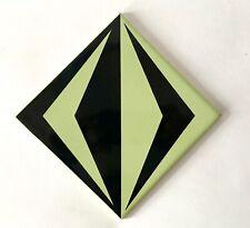 Vintage Geometric Black & Green Modernist Tile Pilkington c.1960/70s