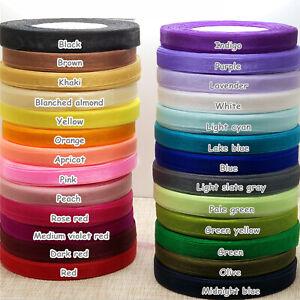 NEW 10mm Transparent Yarn Ribbons Satin Edge Sheer Organza Ribbon 50yds