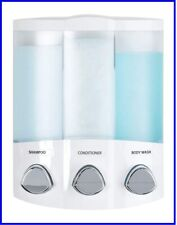 Better Living Products White Euro Series TRIO 3 Chamber Soap and Shower Dispense