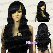70 cm Black Heat Styleable Bang Sexy Curly Long Cosplay Wigs 70_001