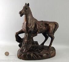 CHEVAL sculpture plâtre patiné bronze , signée M. SALVETTI, Mulhouse, 27,5 cm
