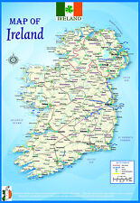 LAMINATED IRELAND GEOGRAPHICAL POLITICAL ATLAS MAP POSTER WALL CHART | UK NEW