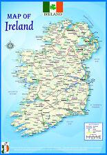Laminado Irlanda geográfica político Atlas Mapa Poster cartelón | Uk Nuevo