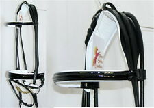 FSS German ROLLED BLACK PATENT Gloss Comfort Crank WHITE PADDED Bridle Dressage