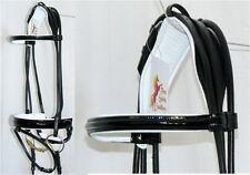 Fss German Rolled Black Patent Gloss Comfort Crank White Padded Bridle Dressage