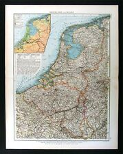 1896 Andrees Map - Netherlands Belgium Holland Europe Amsterdam Brussels