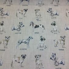 Clarke + Clarke DOGS Linen Blend Fabric Curtains/Upholstry Blinds/Cushions/Craft