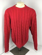 Vtg 70s 80s Abercrombie & Fitch Red Chunky Cable Knit Sweater Sz Xl Cotton