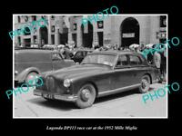 OLD LARGE HISTORIC PHOTO OF LAGONDA DP113 RACE CAR 1952 MILLE MIGLIA