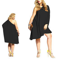 Sexy Women Loose One Shoulder Cocktail Party Black Mini Dress Large Size
