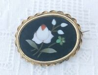 Antique Italian Victorian Pietra Dura Rose  Forget Me Not Brooch Stone Mourning
