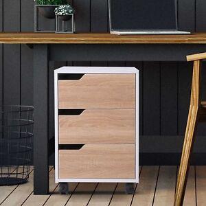 HOMCOM 3 Drawers File Cabinet Pedestal Lockable MDF Mobile Under Desk Office