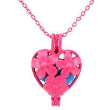 Hot Pink Pearl Cage Necklace Daisy Flower Heart Locket Pendant Charms -R401