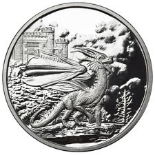 "1 OZ SILVER COIN CELTIC LORE ""RED WELSH DRAGON THIRD RELEASE #COA ANONYMOUS MINT"