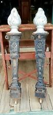 PR OF ANTIQUE CAST RON FENCE POSTS - CLASSICAL TORCHES