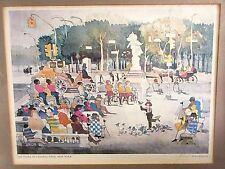 "Signed Dong Kingman (Listed 1911-200) Print ""The Plaza At Central Park"" Framed"