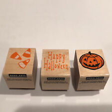 Three (3) Halloween Rubber Stamps Wood Mount Hero Arts 1