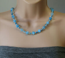 Blue Crackle Quartz with Silver Plated Balls Graduated Beaded Summer Necklace