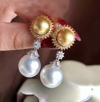 Elegant 10-11mm real natural AAA White round south sea Pearl Earring fine silver