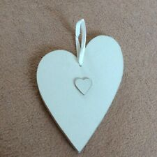 "Wooden Double Love Heart Wall Plaque 8"" x 5"" Home Decor"