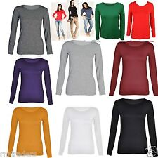 WOMENS CLASSIC LONG SLEEVE T-SHIRT LADIES CASUAL STRETCH PLAIN TOP SIZE 8-14 *RN