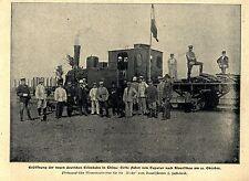 China Kiautschau: Deutsche Eisenbahn Erste Fahrt von Tauturi Bilddokument 1900