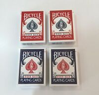 Bicycle Rider Back Playing Cards Poker 4 Decks 2 X BLUE 2 X RED Magic NEW SEALED