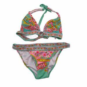 Victorias Secret Womens Multicolor Halter Plunge Padded Bottoms Bikini Set Small