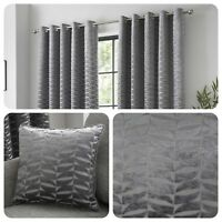 Curtina KENDAL Charcoal Jacquard Eyelet Curtains & Cushions